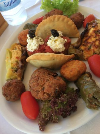 Kyano Beach Restaurant: Combination of meze. Best cheese-balls I have every tasted! (Lacked tzatsiki)