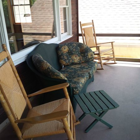 Sandaway Waterfront Lodging Suites and Beach: Porch of deluxe waterfront room 104