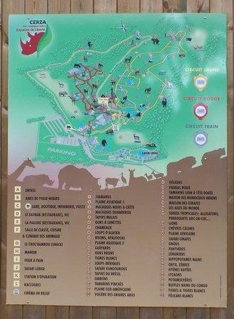 Parc Zoologique Cerza : plan