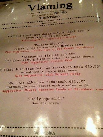 Restaurant Vlaming: The menu