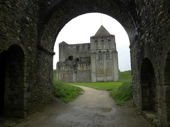 View of Castle Rising keep through entrance arch