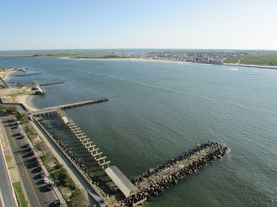 Flagship Resort : View to the west and Brigantine.  Damaged boardwalk was there before Sandy, but that's another s