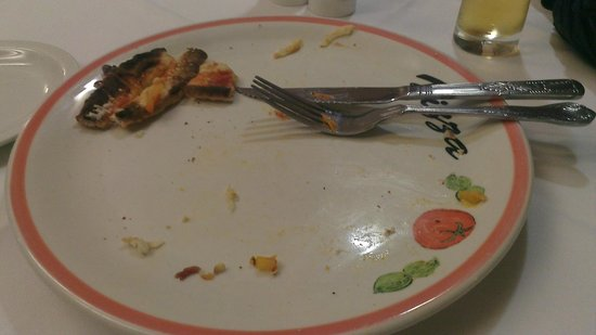 Taormina : Egg left overs from reheated non egg pizza
