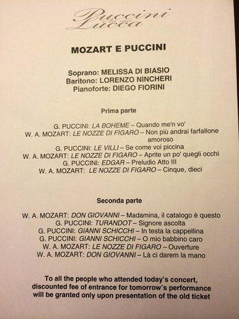 Puccini e la sua Lucca International Permanent Festival: Programme