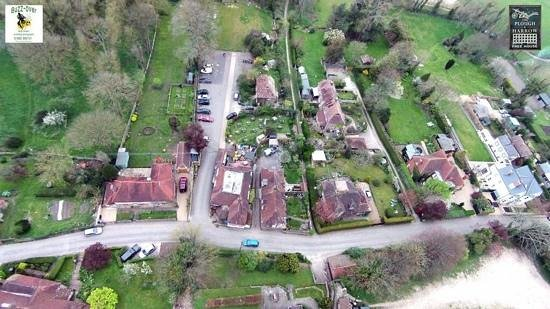 The Plough and Harrow: the pub from above