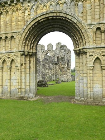 View of ruined priory church through West doorway, Castle Acre Priory