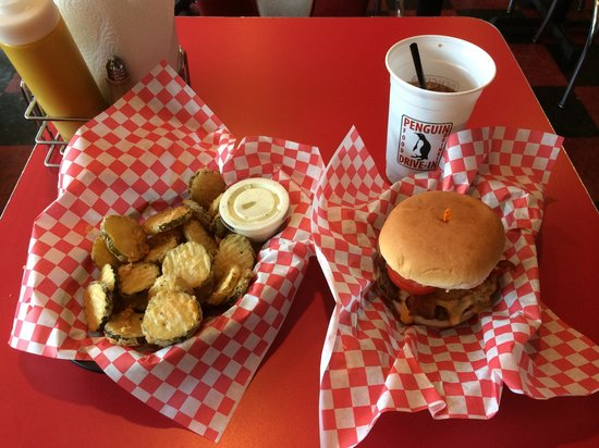 Penguin Drive-In : Signature burger and fried pickles.