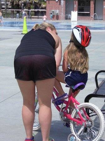 Cascades Park: Great place for a bike ride too, with help from Mom