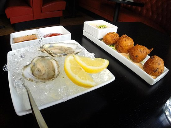 Phoenix Table & Bar: yummy oysters and incredibly light and fluffy salt cod hushpuppies!