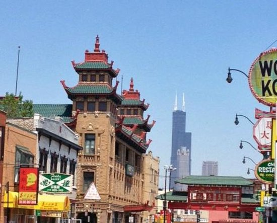 Chicago Food Planet Food Tours: Chinatown with the Willis Tower in the background