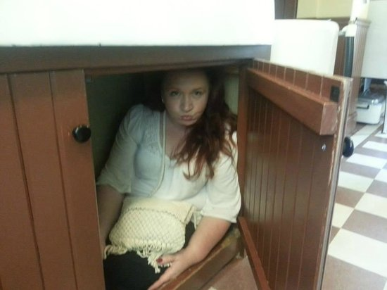 A Christmas Story House: Pouting like Randy under the sink LOL