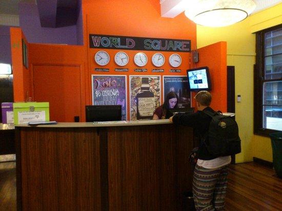 World Square Hostel: reception & lobby
