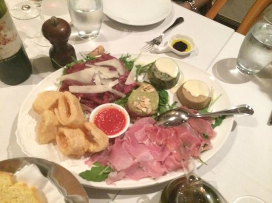 Capricci: fantastic platter with Calamari, Beef Tartare with Parmigiano, tortino of Ricotta & Spinach, Tor