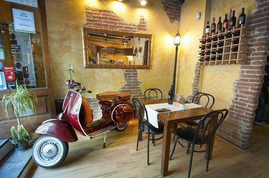 A vintage 1953 Vespa greets guests at PerBacco!