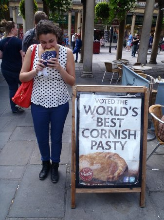 The Cornish Bakery: Don't sit down! Keep exploring the beautiful town of Bath with your Pasty