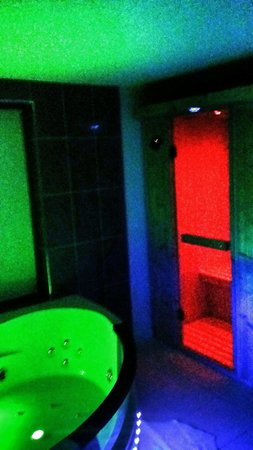 The Oceanic Hotel: The sauna and the jaquzi all lit up