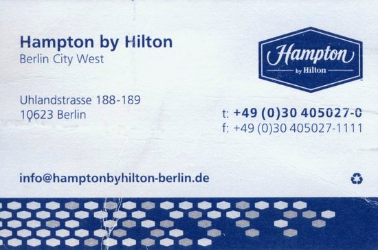 Hampton by Hilton Berlin City West: carte