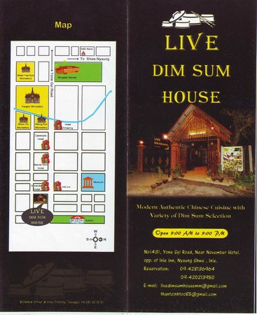Our Front Page of Live Dim Sum House Pamphlet