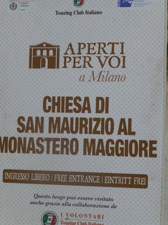 Chiesa di San Maurizio al Monastero Maggiore: Sign outside church