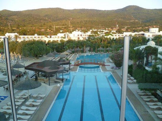 Hotel Samara: vue du restaurant panoramique sur la piscine