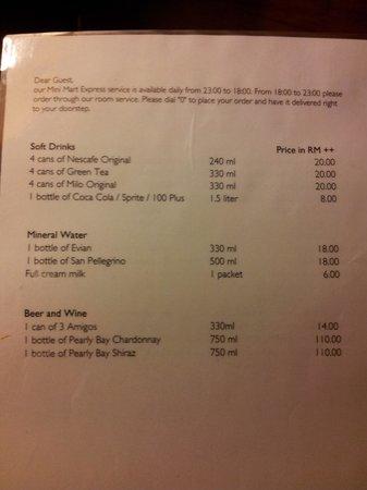 AVANI Sepang Goldcoast Resort: food/drinks prices in room