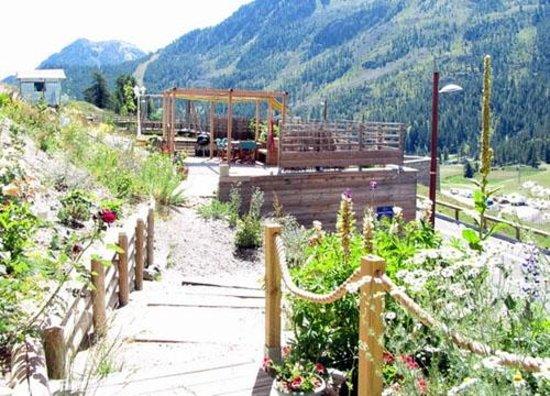 Chalet le Pot de Miel : Notre jardin, acces aux sentiers de randonnée