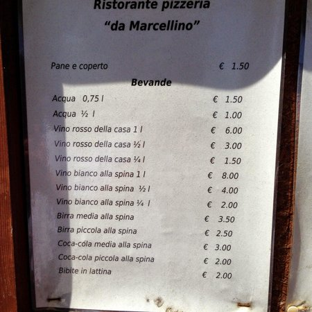 Da Marcellino: menu
