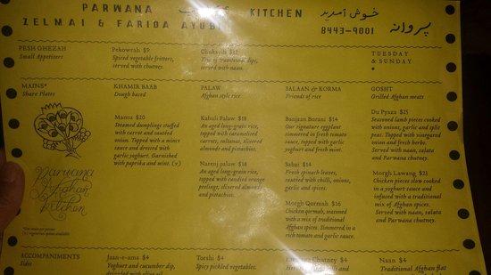 Parwana Afghan Kitchen: Tuesday & Sunday Menu