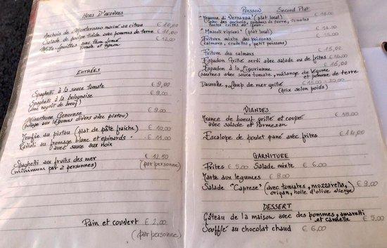 Trattoria da Sandro: menu
