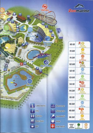 mapa do zoomarine Zoomarine Map (2/2) with timetable of the shows   Picture of  mapa do zoomarine