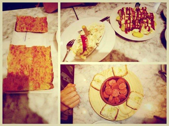 Elisabets: Patatas Bravas, Pan con Tomate, Choricitos y Ensalada Russia