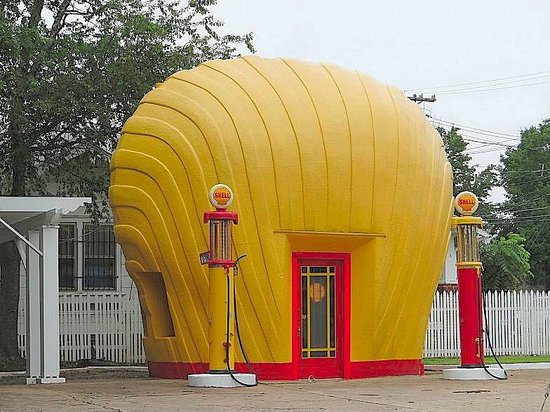 Shell-shaped Gas Station