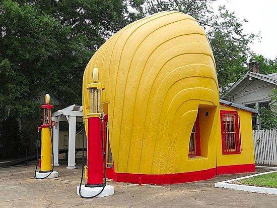 Shell-shaped Gas Station: outside