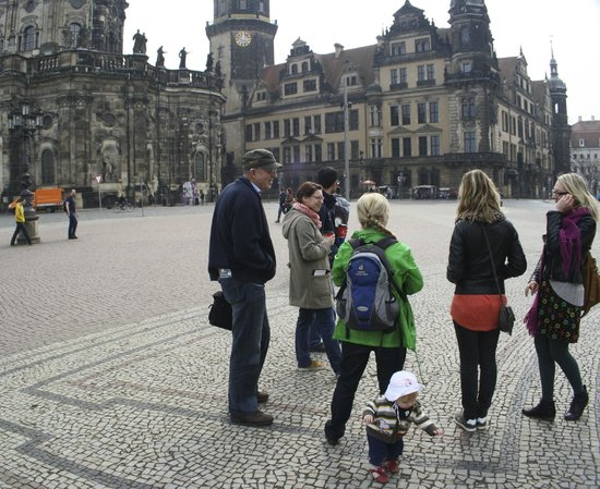 DresdenWalks: Dresden Walk with our guide & her assistant - white hat!!