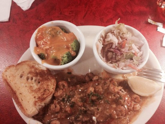 Back Porch Restaurant: Blackened catfish with crawfish sauce, broccoli and cheese, coleslaw