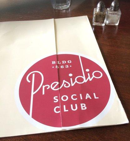 Presidio Social Club: Menu cover
