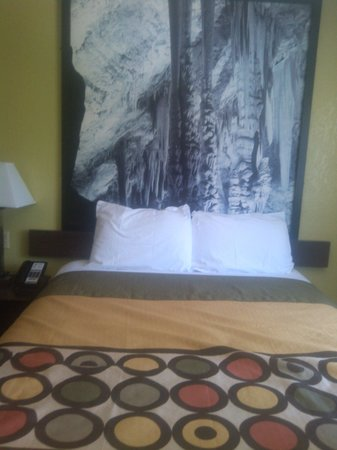 Super 8 Carlsbad: room has pics of Carlsbad Caverns