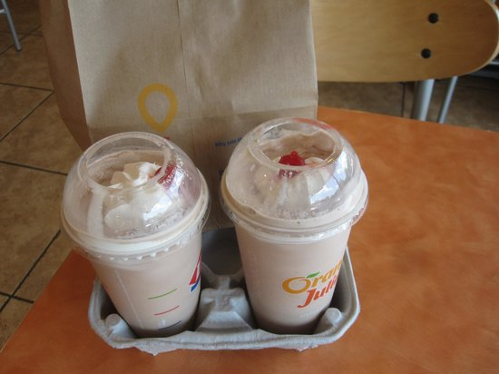 Dairy Queen Orange Julius : Couple chocolate malts even with whipped cream and cherries.