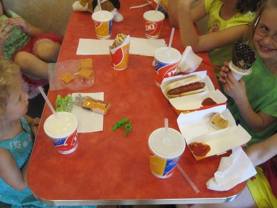 Dairy Queen Orange Julius : Here's tghe kids table lots of good stuff.