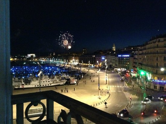 Old Port: Fireworks from our hotel room on the harbor at night.