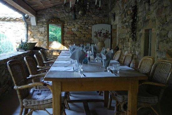 Mas d'Oléandre - Maison d'Hotes : table d'hôtes avec nos hôtes sur notre terrasse
