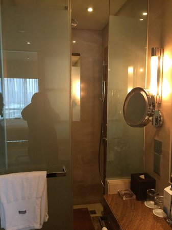 The Westin Guangzhou: Our deluxe king room (bathroom photo) which smelt of horrible cigarettes! So much for booking a