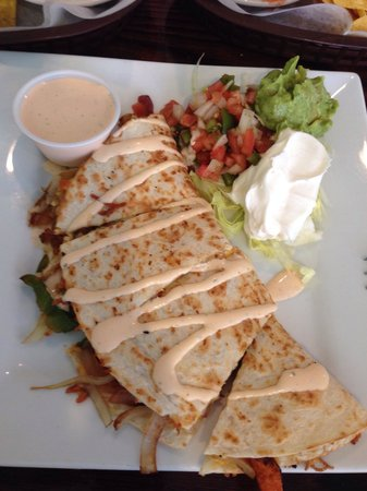 La Cabana Restaurant : Vegetable quesadilla with extra sauce!
