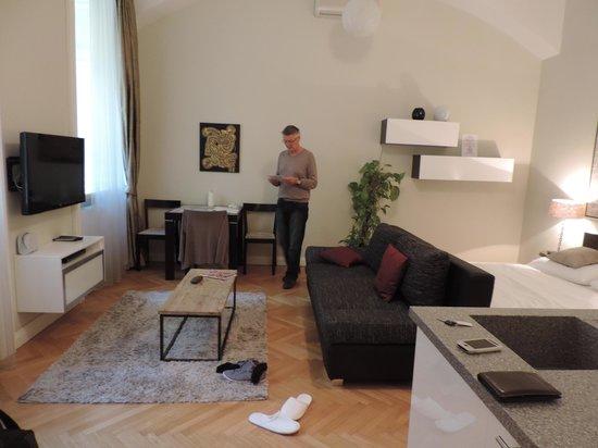Retezova Apartments : partie salon/salle a manger