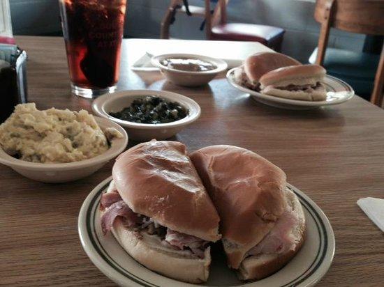 Lea's Lunchroom: Ham sandwich, potato salad and turnip greens