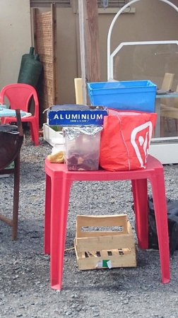 Relais de la plage: Viande en plein soleil