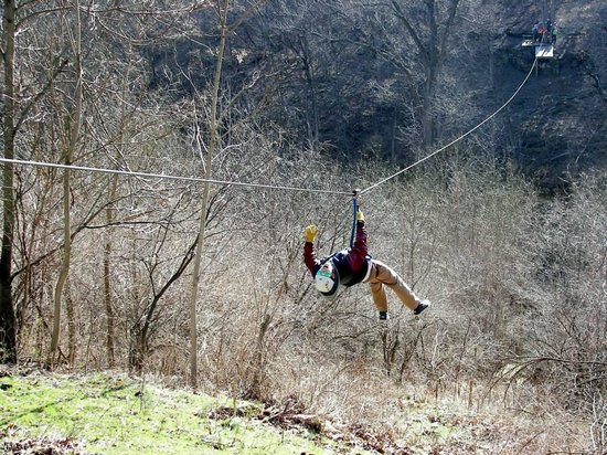 Grafton Zipline Adventures: My teenage son getting a little crazy on the line.