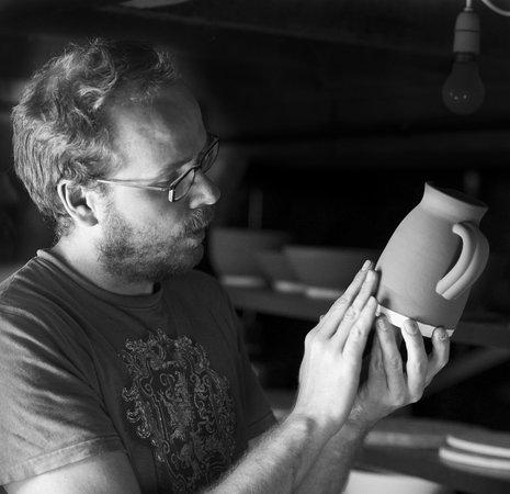 Learn to Throw on the Potter's Wheel Day Courses @ Alex Allpress Pottery School: Alex Allpress glazing in his Elan Valley Studio in Newbridge on Wye