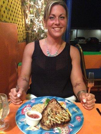 Harlequin Restaurant : Jill with the tuna