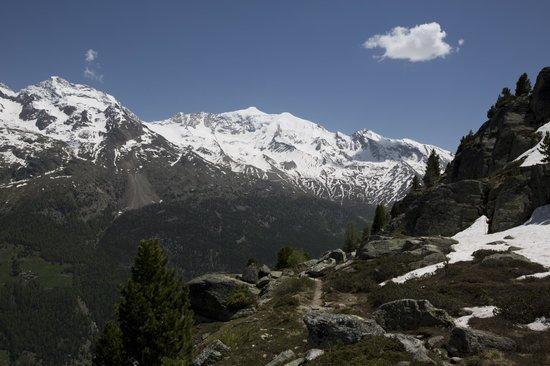 Pension Heino: View above Saas-Grund towards Lagginhorn